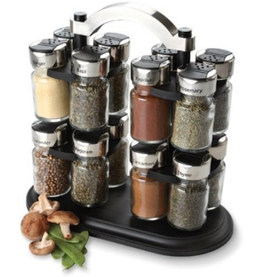 Olde Thompson 25-677 16-Jar Twin Carousel Spice Rack w/ Spices, 12-in