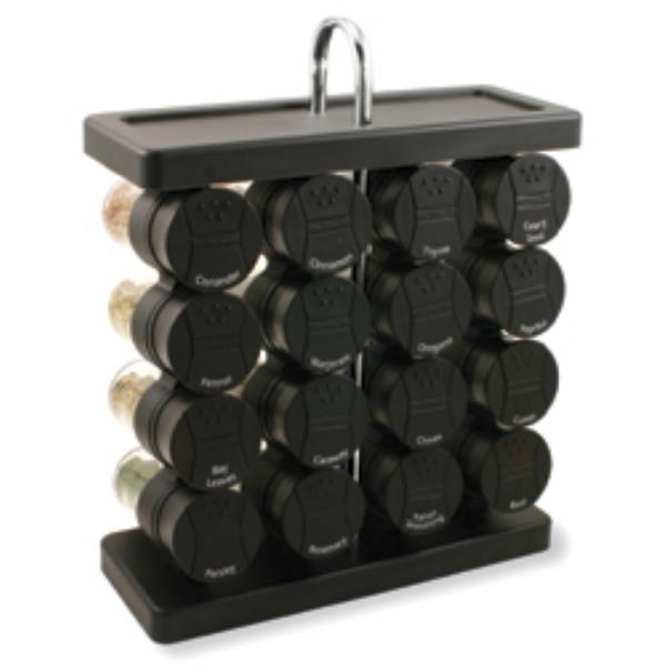 Olde Thompson 25680B Spice Rack, Traditional, Holds 16, Black Flip-Top Lid, Filled