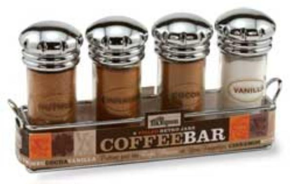 Olde Thompson 25715 Coffee Bar, Retro Chrome Caps, 4 Jars, 5 in