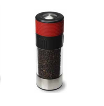 Olde Thompson 3027-23 6-in Tower Peppermill w/ Soft Grip & Black Pepper, Red