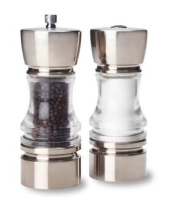 "Olde Thompson 3509-00 Crown Pepper Mill & Salt Shaker Set, 6.5"", Stainless Top, Filled"