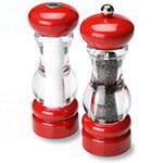 "Olde Thompson 3521-23-0-0 7"" Del Norte Salt & Pepper Shaker Set w/ Red Top & Base"