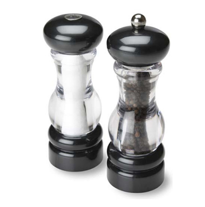 "Olde Thompson 3521-28-0-0 7"" Del Norte Salt & Pepper Shaker Set w/ Black Top & Base"