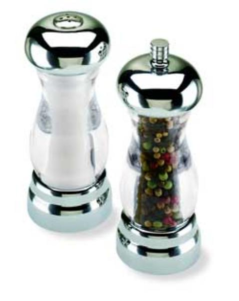 olde thompson 35592700 peppermill salt shaker set del sol clear acrylic w chrome top 5 in. Black Bedroom Furniture Sets. Home Design Ideas