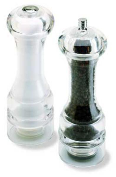 Olde Thompson 35613500 Peppermill/Salt Shaker Set, Mercury, Clear Acrylic, 7 in