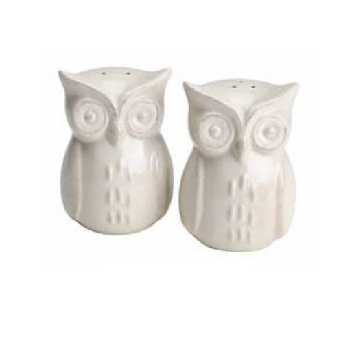 "Olde Thompson 3765-G 3.5"" Ceramic Owl Salt & Pepper Shakers"