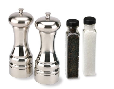 Olde Thompson 3961-80-0-0 Mercury Salt & Pepper Mill Set, Brushed, Refills, 7-in