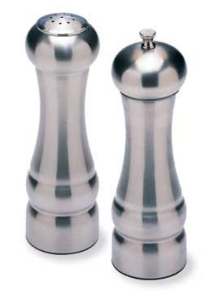 Olde Thompson 45100 Peppermill/Salt Shaker Set, Brushed Metal, 7-1/2 in