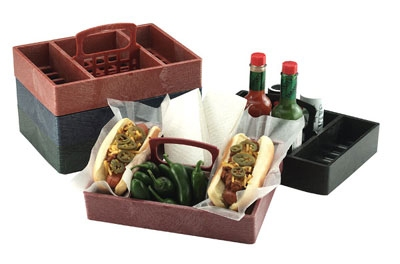 HS Inc HS1046PK Table Top Organizer w/ 4-Compartments, 10 x 7 x 2-in, Polyethylene, Paprika