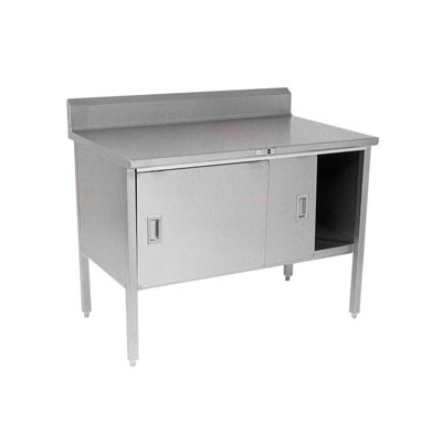 "John Boos 140-38 72"" Enclosed Work Table w/ Sliding Doors & 5"" Backsplash, 30""D"