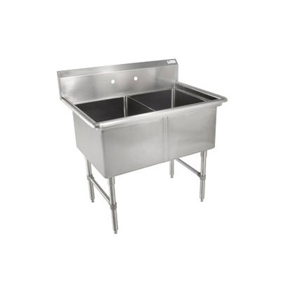"John Boos 2B244 53"" 2-Compartment Sink w/ 24""L x 24""W Bowl, 14"" Deep"