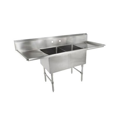"John Boos 2B244-2D24 99"" 2-Compartment Sink w/ 24""L x 24""W Bowl, 14"" Deep"