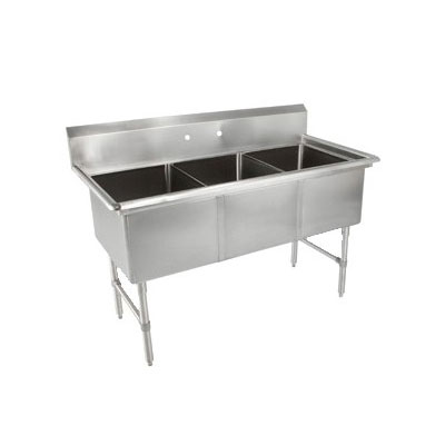 John Boos 3B184 59-in Sink w/ (3) 18 x 18 x 14-in Bowl, 16-ga Stainless Legs
