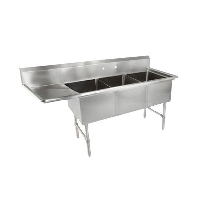 "John Boos 3B18244-1D18L 76"" 3-Compartment Sink w/ 18""L x 24""W Bowl, 14"" Deep"