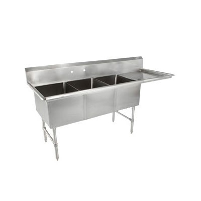 "John Boos 3B18244-1D18R 76"" 3-Compartment Sink w/ 18""L x 24""W Bowl, 14"" Deep"