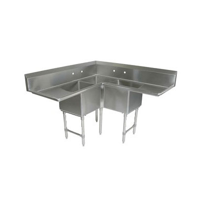 John Boos 3BCS-184-2D18 58.5-in Sink, (3) 18x18x14-in Bowl, (2) 18-in Drainboards, 16-ga Stainless Legs