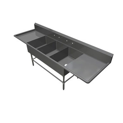 "John Boos 3PB2028-2D20 103.25"" 3-Compartment Sink w/ 20""L x 28""W Bowl, 12"" Deep"