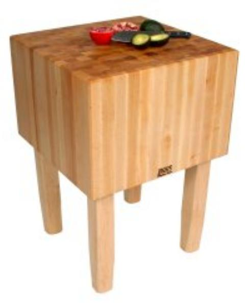 John Boos AA05 Butcher Block Table w/ 16-in Thick Hard Rock Maple Top, 35 x 30-in