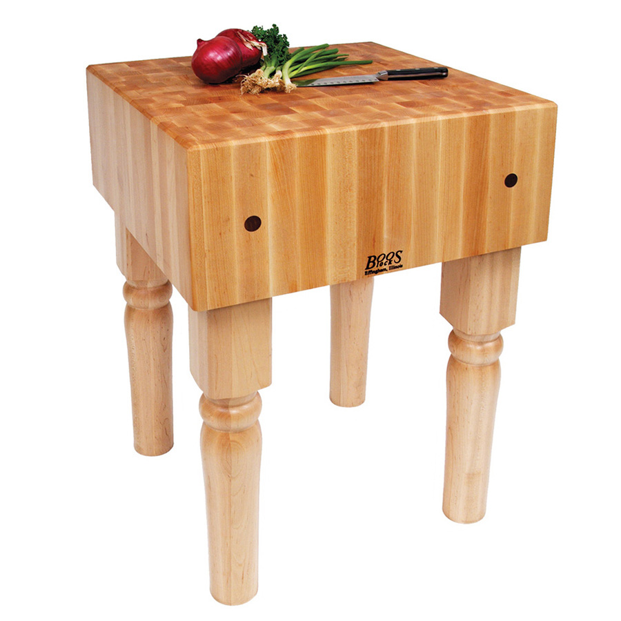 "John Boos AB07 10"" Maple Top Butcher Block Work Table - 30""L x 30""D"