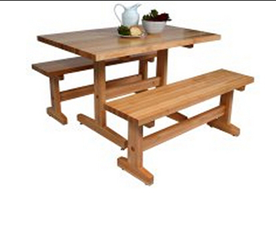 John Boos AM-FARM-BNCH-48 Trestle Table Bench w/ Solid Maple Edge Grain Top & Varnique Finish, 18x48x12-in