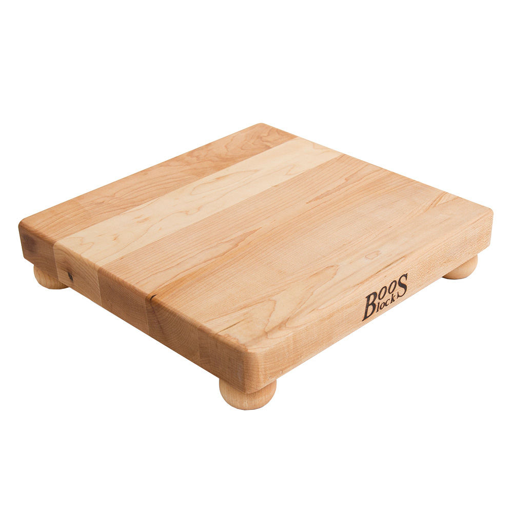 "John Boos B12S 12"" Square Cutting Board w/ Wooden Legs, Hard Rock Maple"