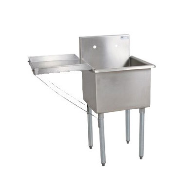 John Boos B1S8-18-14 21-in Sink w/ (1) 18 x 18 x 14-in Bowl & Galvanized Legs, 18-ga Stainless Top
