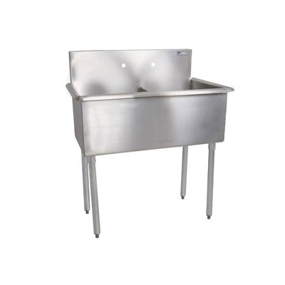John Boos B2S8-24-12 48-in Sink w/ (2) 24 x 24 x 12-in Bowl & Galvanized Legs, 18-ga Stainless Top