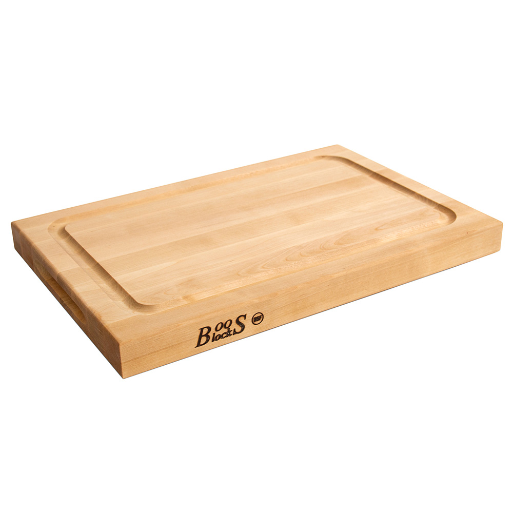 "John Boos BBQBD Reversible Cutting Board w/ Grooved Edge Grain, 12x18"", Hard Rock Maple"