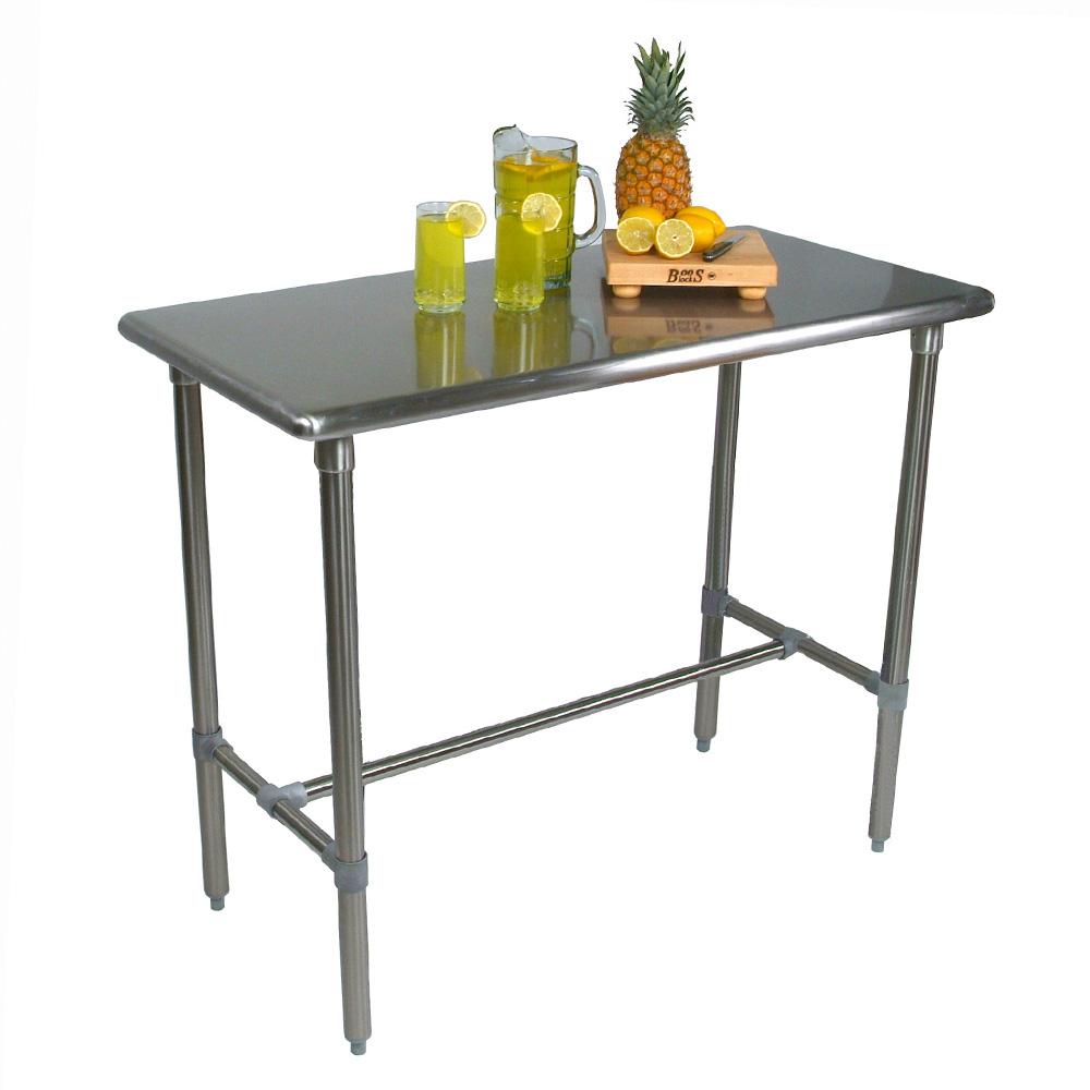 "John Boos BBSS4824-40 48"" 18-ga Work Table w/ Open Base & 300-Series Stainless Flat Top"