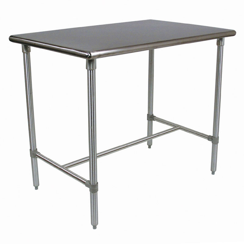 "John Boos BBSS4824-40 48"" 18-ga Work Table w/ Open Base & 300-Series Stainless Flat Top"