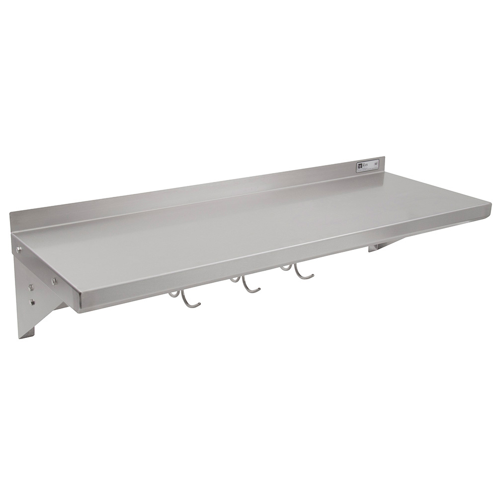 John Boos BHS1248PR Wall Shelf w/ Riser & 1-Bar Pot Rack, 48 x 12-in