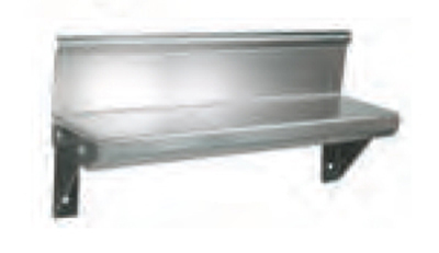 "John Boos BHS548R6 5x48"" Wall Shelf - 4"" Riser, 16-ga Stainless"