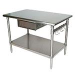 """John Boos BS4824-AS-D 48"""" 16-ga Work Table w/ Undershelf & 300-Series Stainless Flat Top"""