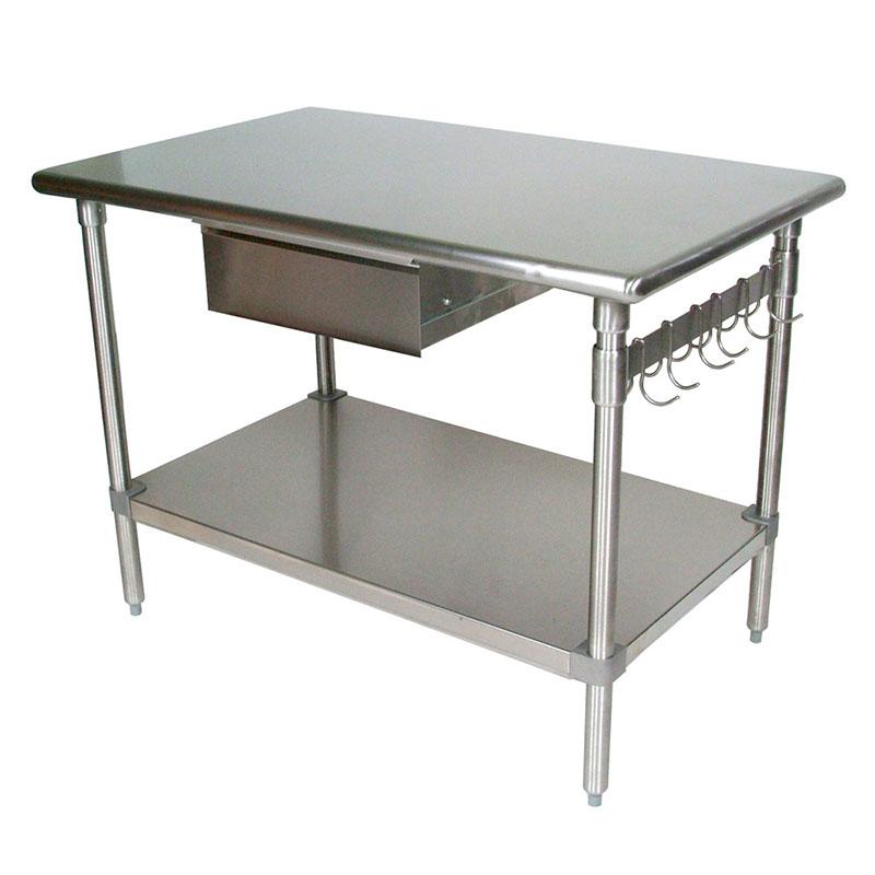"""John Boos BS4830-AS-D 48"""" 16-ga Work Table w/ Undershelf & 300-Series Stainless Flat Top"""