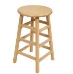 "John Boos BSTL18 14"" Round Bar Stool - 18"" H, Natural Birch"