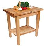 "John Boos C012S Work Table w/ 1-3/4"" Hard Rock Maple Top, 2-Shelves, 24 x 36"""