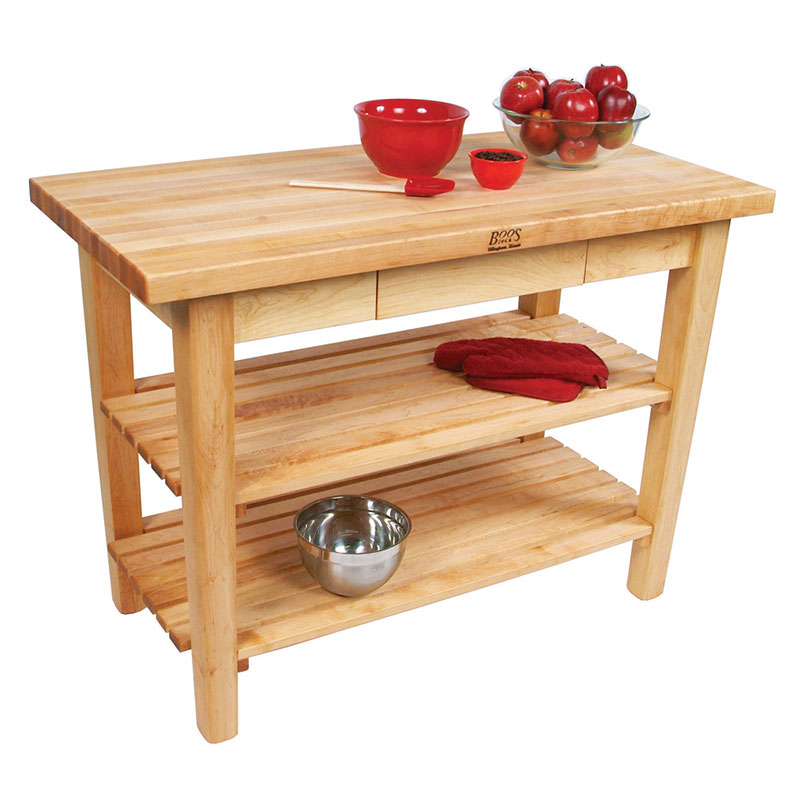 "John Boos C022S Work Table w/ 1-3/4"" Hard Rock Maple Top, 2-Shelves, 24 x 48"""
