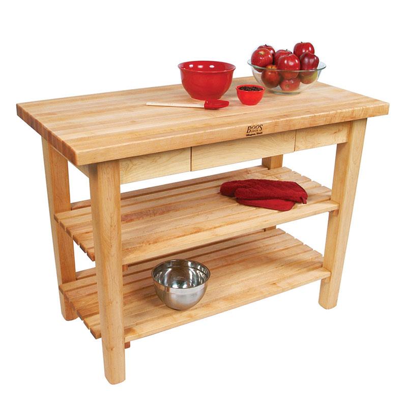 "John Boos C062S Work Table w/ 1-3/4"" Hard Rock Maple Top, 2-Shelves, 30 x 48"""