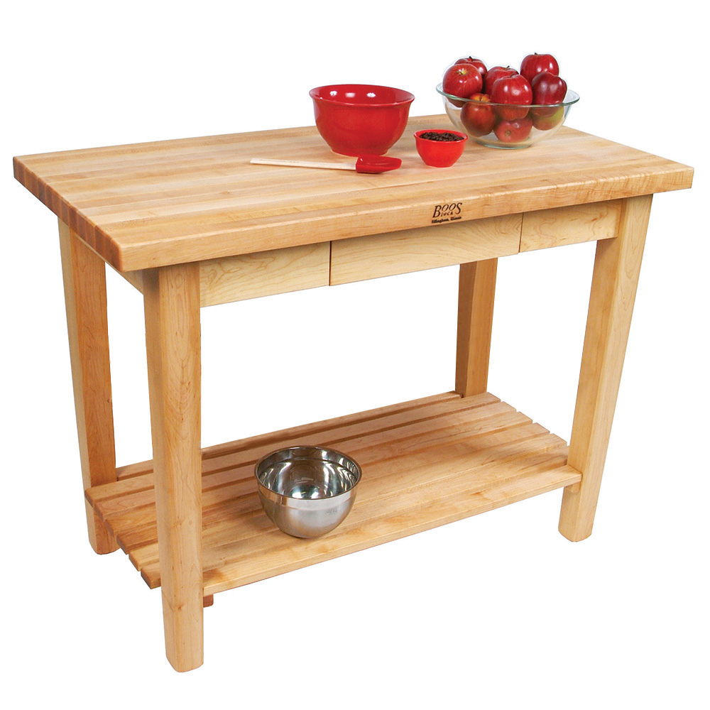 "John Boos C07S Work Table w/ 1-3/4"" Hard Rock Maple Top, 1-Shelf, 30 x 60"""