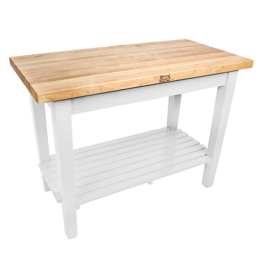 "John Boos C4824SAL Classic Country Hard Maple Table, 48 x 24 x 36"" H, Alabaster"