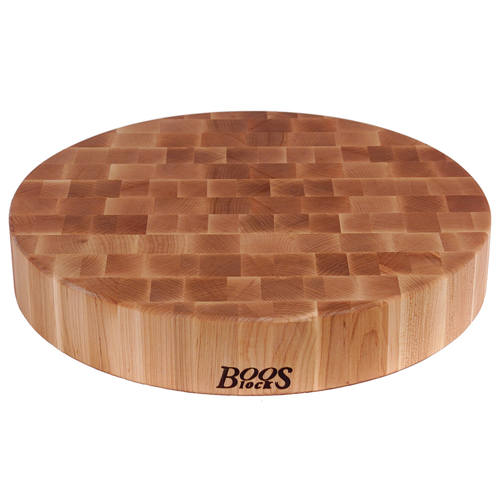 """John Boos CCB183-R Chopping Block, 18"""" Dia, 3"""" Hard Rock Maple End Grain"""