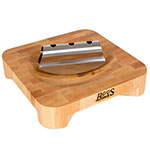 "John Boos CHBKN-1010-SD Maple Mezzaluna Herb Board, 10"" X 10 in, 2"" Thick, Double Edge Knife"
