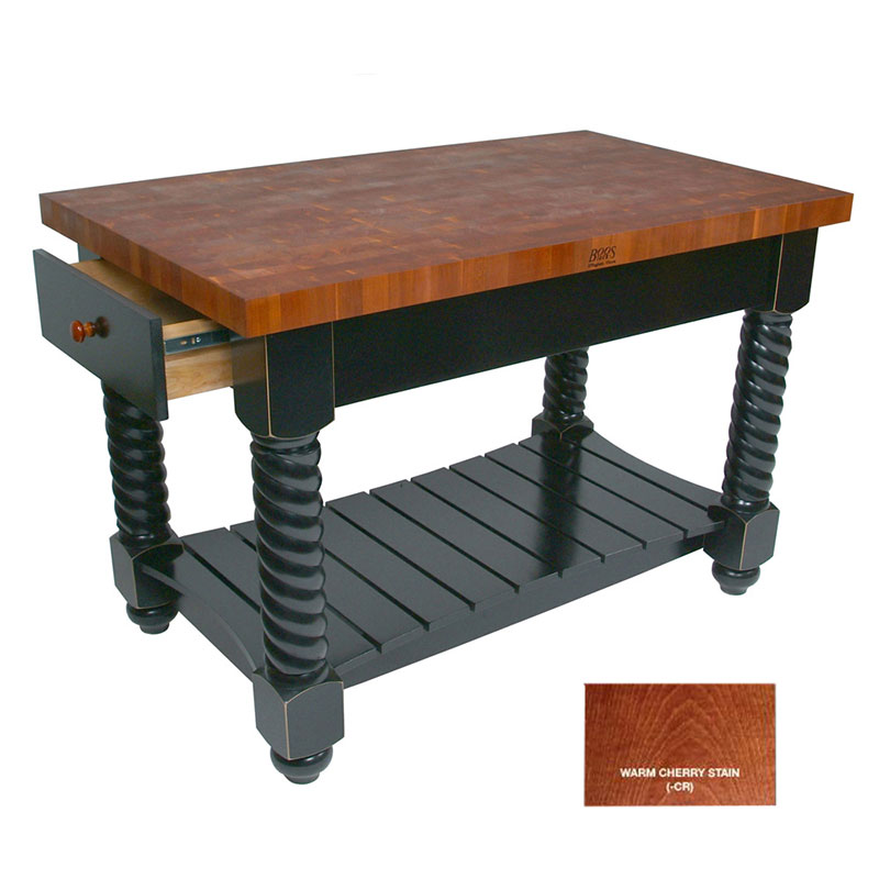 John Boos CHY-TUSI5432225EG CR Tuscan Island w/ Cherry Edge Grain Top & 2-Drawers, 54x32x1.75-in, Cherry Stain