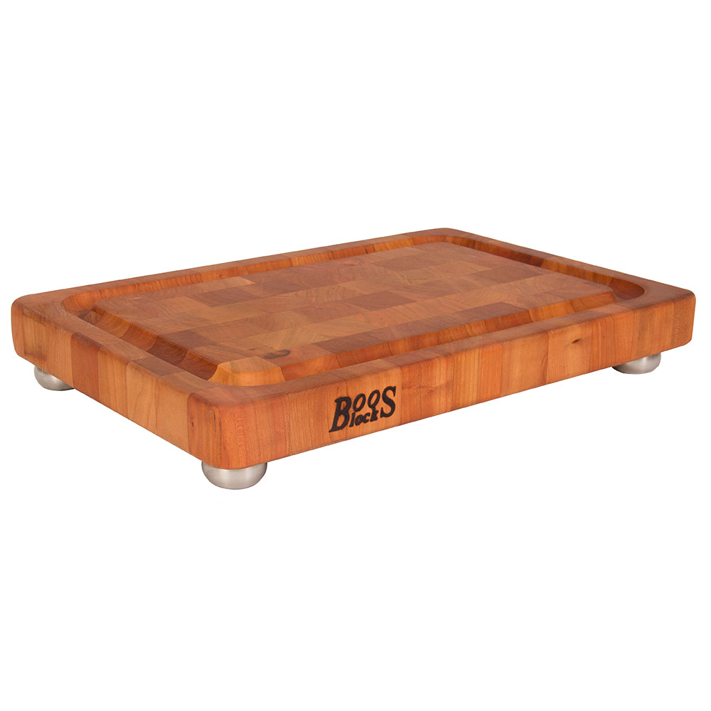 "John Boos CHY-1812175-SSF Cutting Board, Cherry, Juice Groove, Stainless Bun Feet, 18 x 12 x 1-3/4"" Thick"