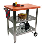 John Boos CHY-CUCAV01 Cucina Avanti Cart w/ Cherry Edge Grain Top & Towel Bar, 35x20x30-in