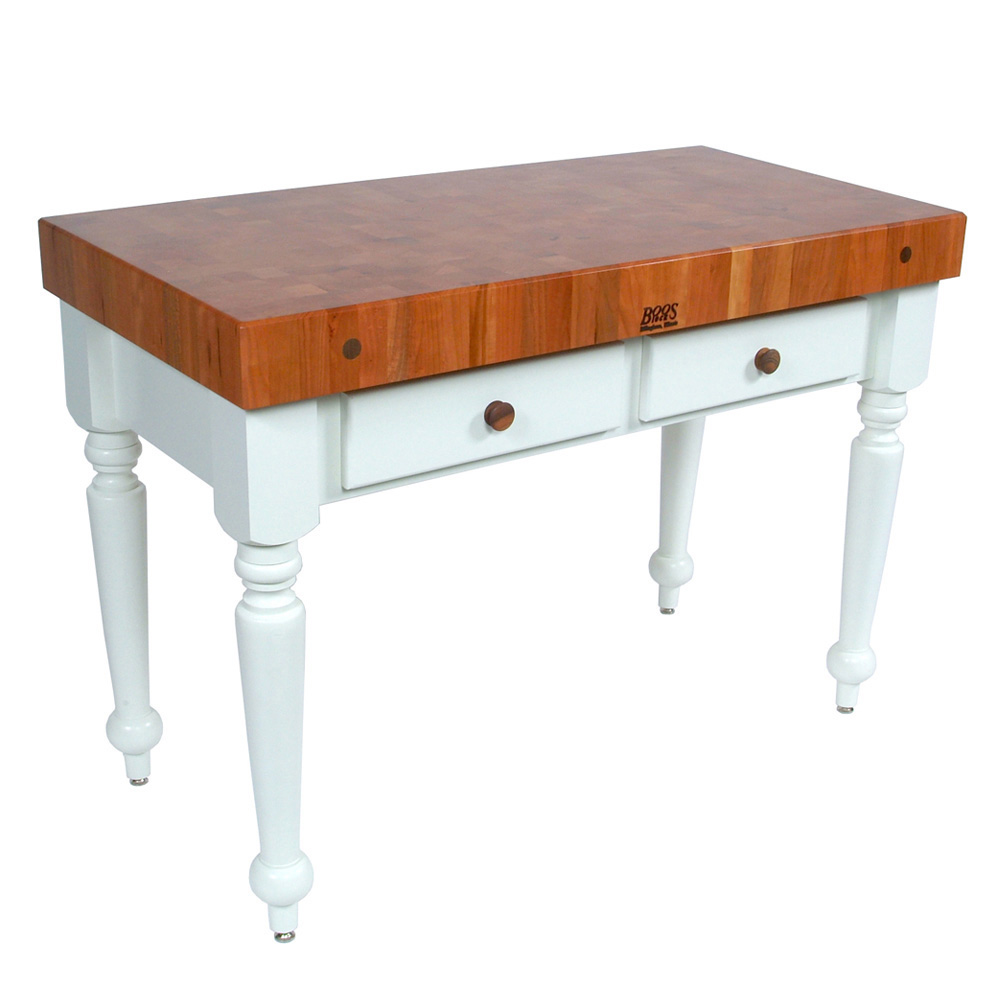 "John Boos CHY-CUCR05-AL Rustica Table, 4"" End Grain American Cherry, Alabaster Base, 48 x 24"""