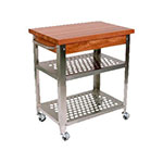"John Boos CHY-CUCR3020 Cucina Rosato Cart w/ (2) Perforated Undershelves, 20x30x35"", Cherry Edge Grain Top"
