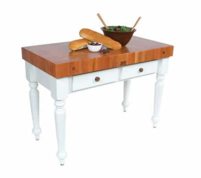 John Boos CHY-CUCR04-SHF-AL Rustica Table, 4 in End Grain American Cherry, Shelf, Alabaster Base, 30 x 24 in
