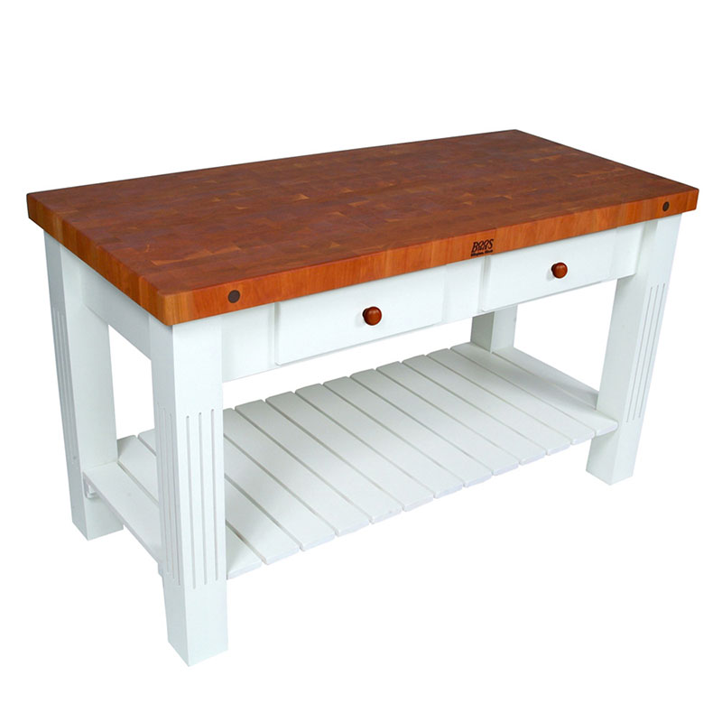 John Boos CHY-GRZ6028-AL Grazzi Kitchen Island, 2-1/4 in End Grain Cherry, Alabaster Base, 60 x 28 in