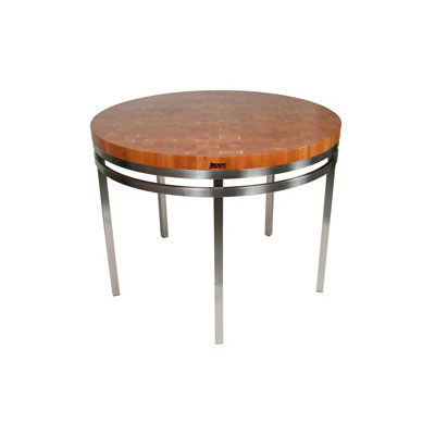 John Boos CHY-MET-OA48 Kitchen Island Table, Round w/ American Cherry Edge Grain Top, 36x48x2-in